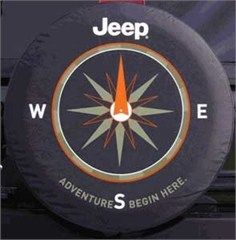 Adventures Begin Here Denim Tire Cover With Compass Design Jeep