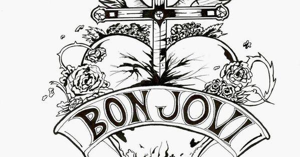 bon jovi heart and dagger logo black and white by