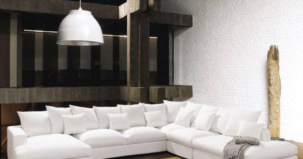Sof esquinero modulable de 7 plazas de algod n marfil - Sofa esquinero pequeno ...