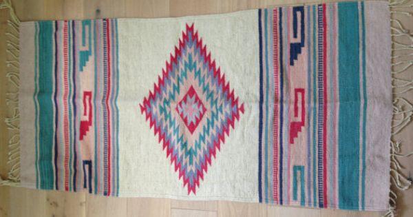 Vintage 1970s Navajo Rug Native American Aztec Small Rug 5