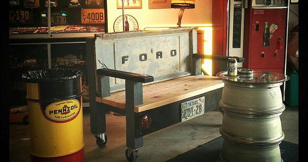 Man Cave On Wheels : Awesome rolling tailgate bench stacked wheel table man