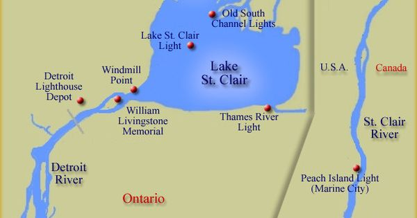 Map of lighthouses at Lake St