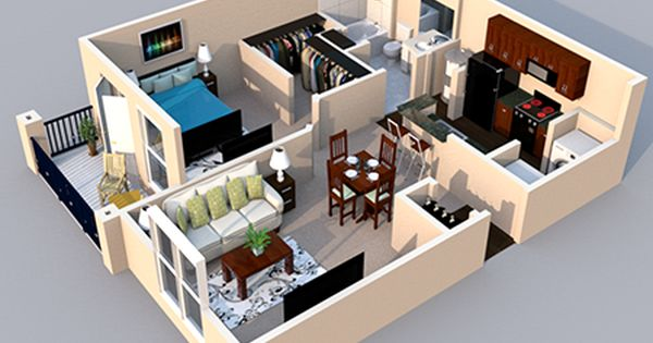 Our Atlantic 1 Bedroom 1 Bath Floor Plan Is 742 Sq Ft Small House Design Sims House Design Philippines House Design