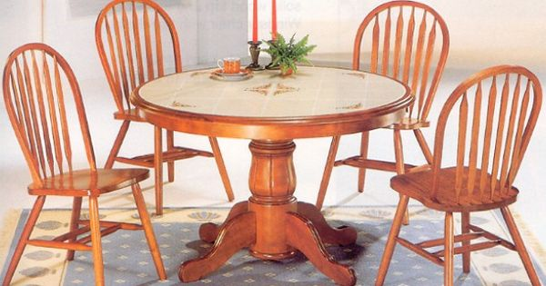 Oak Tile Top Kitchen Table And 4 Chairs Kitchen Table Pinterest Round Pedestal Dining