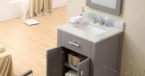 Water Creation 24 In W X 21 In D Vanity In Cashmere Grey With Marble Vanity Top In Carrara White Mirror And Chrome Faucet Madison 24gbf The Home Depot Bathroom Sink