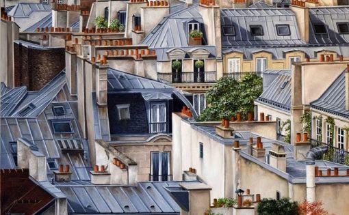 Oeuvre Marie Claire Houmeau La Vie D En Haut Gouachepainting Gouache Painting Architecture Parisian Architecture Paris Rooftops Paris City