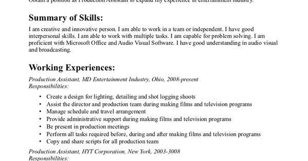 production assistant resume byu edu production assistant resume dayjob 0oswyzca