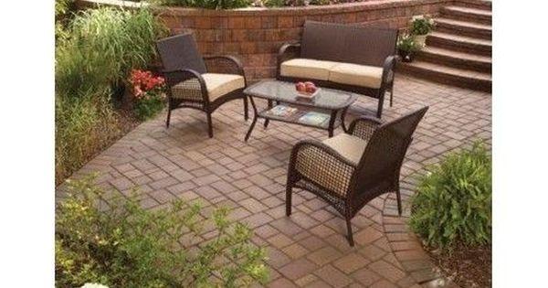 Patio Conversation Set Furniture 4 Piece Wicker Outdoor