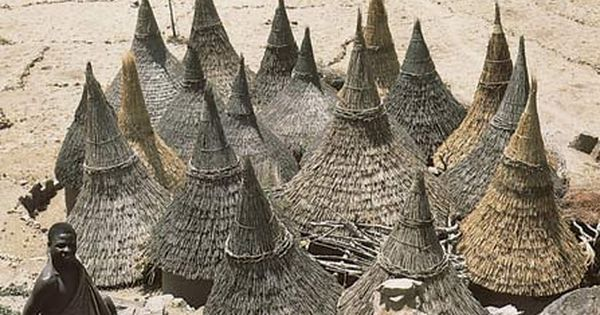 Thatch-covered conical roofs of cylindrical houses in a Matakam compound, Cameroon. by
