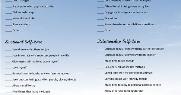 Self Care Assessment Counseling Worksheets