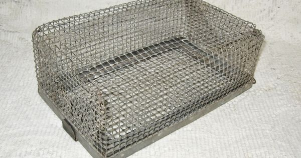 Early mesh wire minnow or bait basket box sold vintage