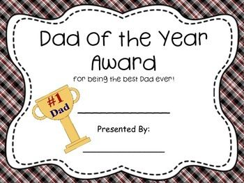 Dad Of The Year Award Father S Day Dad Of The Year Best Dad Diy Gifts For Dad