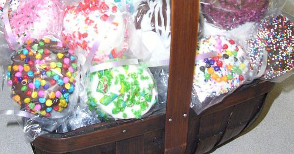jumbo marshmallows dipped in chocolate and candies. Fundraising idea