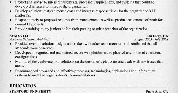 solution architect resume amg