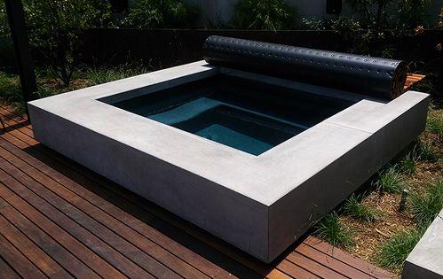 Cast Concrete Hot Tub Surround By Ernsdorf Design Sauna