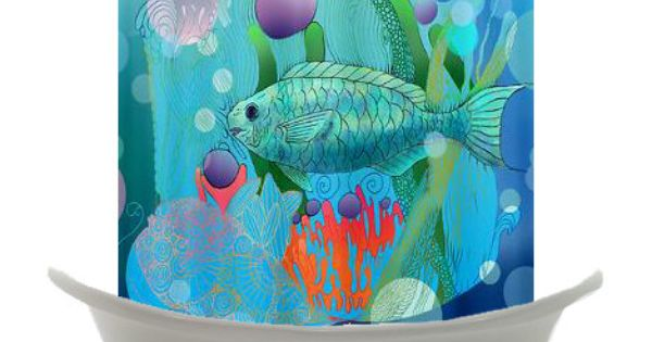Artistic Shower Curtain Bubbly Ocean Reef Fish Teal