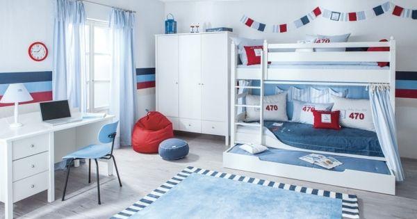 jungenzimmer für geschwister-nautisch-inspiriert-hochbett mit ... - Kinderzimmer Ideen Fur Geschwister