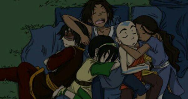 Aang Katara Toph Sokka Zuko Sleeping Funny Avatar The Last