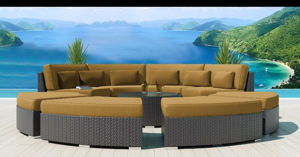 Modavi Round Patio Sectional With Turquoise Dark Beige