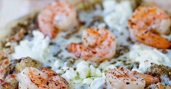 pesto shrimp pizza - made (with mozzarella cheese instead of goat cheese):