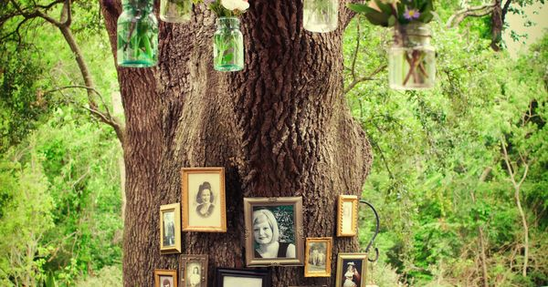 Rustic Louisiana Wedding DIY Details...old pictures of family members who have passed