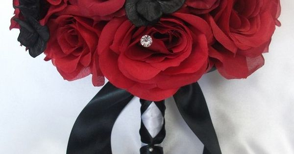red and black rose bouquet $189.99 on etsy - LilyOfAngeles