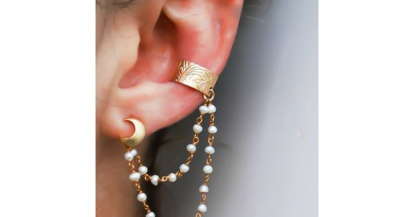 Pearl Moon Ear Cuff