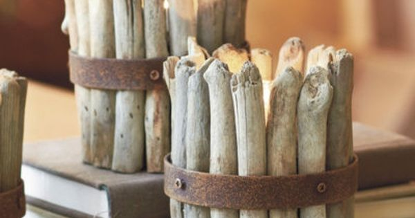 Driftwood candle holder.