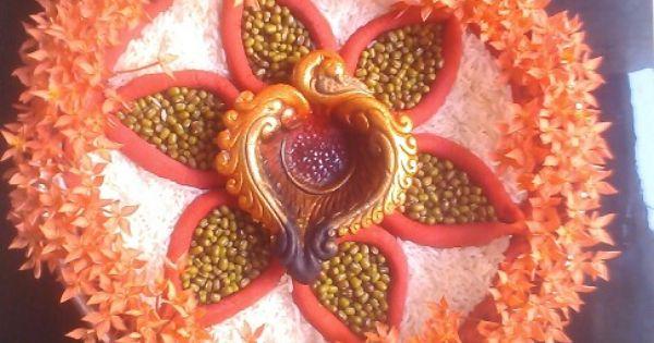 Aarti thali decoration my designs pinterest for Aarti thali decoration with pulses