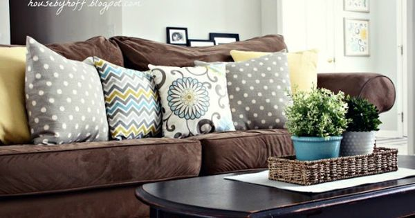 House By Hoff Brown Sofa Colorful Throw Pillows I Love