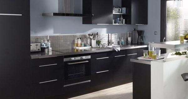 Cuisine cooke lewis ice noire prix promo castorama 569 for Prix cuisine castorama