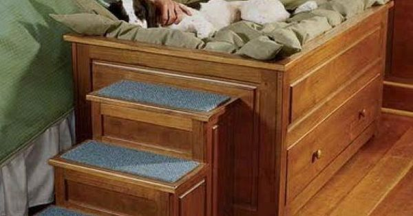 Elevated Dog Bed With Stairs Wood Furniture Amp Decor