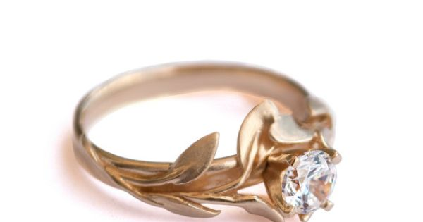 (Diamond ring - Leaves) Leaves Engagement Ring 18K Yellow Gold and Diamond
