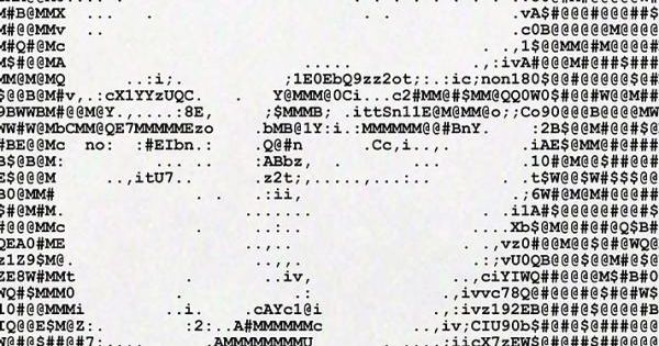Ascii art translating images into characters vintage for Ascii table 85