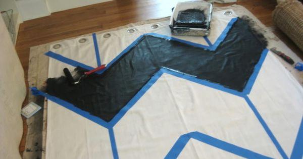 Chevron curtain painting tutorial from Kristen F. Davis Designs