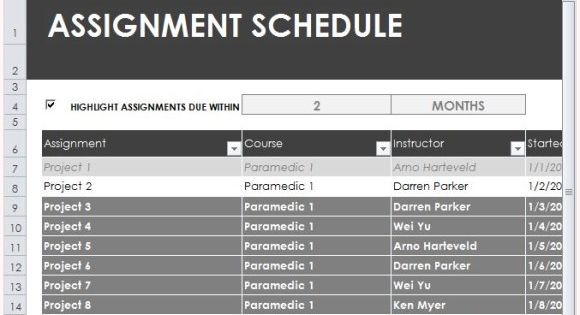 Task Assignment Schedule Excel Template Microsoft Office