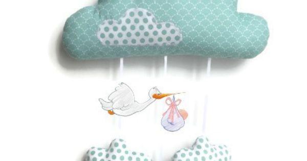 Nuage suspendre en tissu vert mint d coration pour chambre de b b originale fait main for Decoration chambre bebe fait main