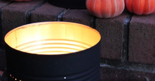 Halloween tin can luminaries - Trick or Treat.