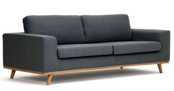 Retro Sofa Kingham 3 Sitzer Grau Massivum Sofa Wohn Mobel 3er Sofa