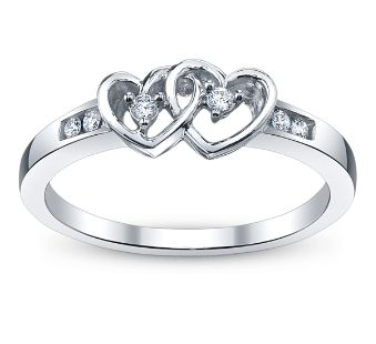 Two Hearts Linked Forever A Cherish Double Heart Diamond And White Gold Promise Ring White Gold Promise Ring Silver Crystal Earrings Garnet Engagement Ring