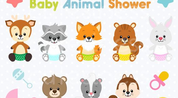 Baby Animal Clipart Baby Woodland Animals Clipart Baby Shower