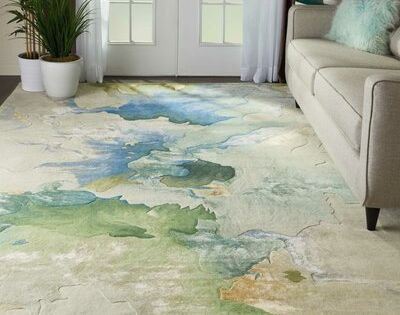 Ivy Bronx Emerie Abstract Hand Tufted Wool Blue Beige Area Rug Beige Area Rugs Abstract Rug Design Modern Area Rugs