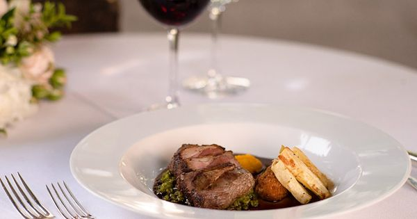 garlic roasted lamb rump with potato croquette with minted pea puree ...
