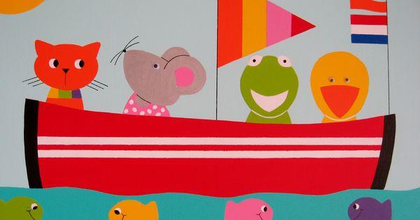 Beestenboot kinderkamer kunst voor op de kinderkamer en babykamer kinderkamer schilderijen - Babykamer schilderij idee ...