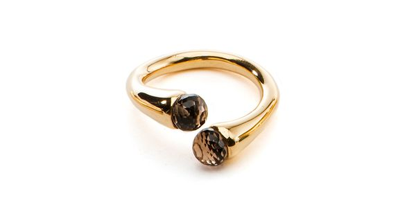 The Smoky Quartz Color Drop Gold Ring by JewelMint.com, $70.00