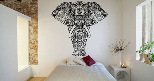 Mur chambre decor art vinyl sticker autocollant mural for Decoration murale mandala