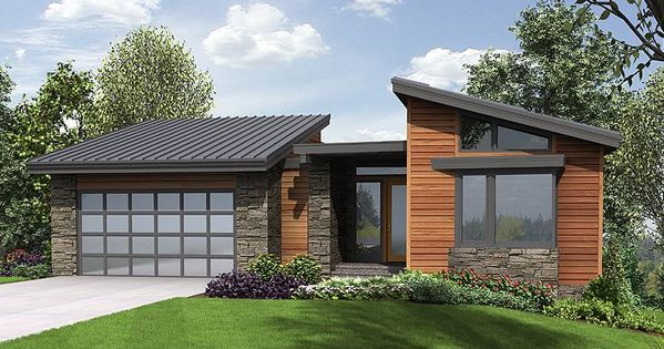 034h 0223 modern mountain house plan offers walkout for Mountain home plans with walkout basement