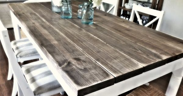 DIY Dining room table with 2x8 boards (4.75 each for $31.00) from