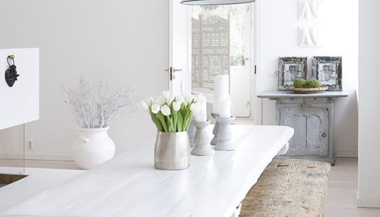 White kitchen table wooden bench