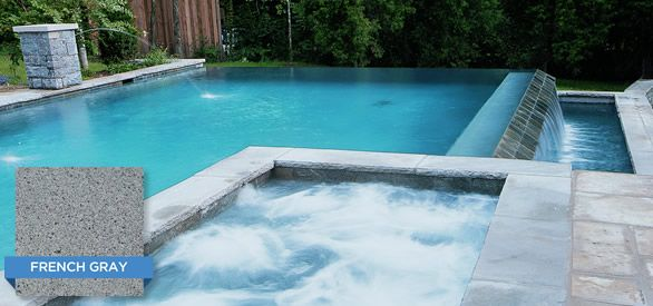 Wonderful Pool Finish Ideas For You To Copy: Hydrazzo French Gray Compliments This Modern Spa And